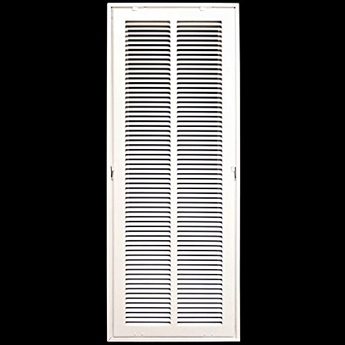 10 X 30 Steel Return Air Filter Grille for 1 Filter - Removable Face/Door - HVAC Duct Cover - Flat Stamped Face - White [Outer Dimensions: 12.5 X 31.75]