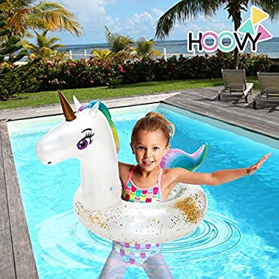 Hoovy Unicorn Ring Float | Inflatable Water Toys for Kids & Adults | Fun Rainbow Swim Raft for Baby & Children Pool-Party Supplies for Beach & Swimming | Giant Inflatables & Floating Decorations: Toys & Games