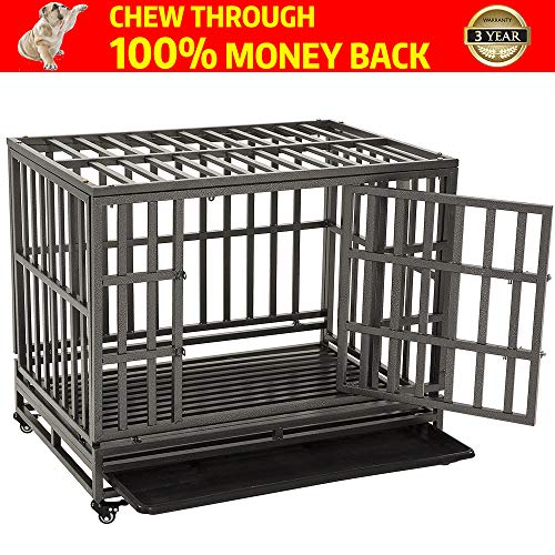 "KELIXU 38"" Heavy Duty Dog Crate Ultra-High Hardness Enhanced Steel Pet Kennel Playpen with Two Prevent Escape Lock, Large Dogs Cage with Four Wheels,Black"