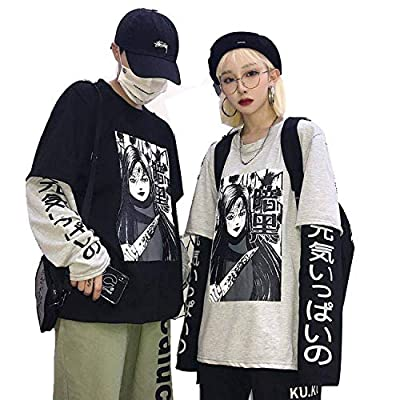 Chaofashiono Harajuku Tshirt Hip Hop T Shirts Men Women Amine T Shirt Loose Long Sleeve