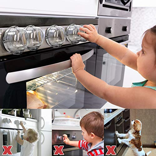 51y0Y2DQODL Stove Knob Covers for Child Safety (5 + 1 Pack) Double-Key Design and Upgraded Universal Size Gas Knob Covers Clear View Childproof Oven Knob Covers for Kids, Babies    Product Description