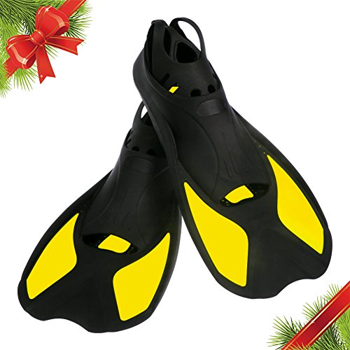 Christmas Gift Kids Swim Fins | Short Floating Training Swimming Fins for Children Boys and Girls Size 32-33 (US size 1-2) | Thermoplastic Rubber Pool Fins for Diving Snorkeling Watersports | Yellow