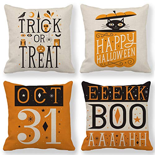 ULOVE LOVE YOURSELF Orange Halloween Decor Trick or Treat Pillow Covers Happy Halloween Pillow Cases Decorative Cushion Covers 18 x 18 Inches,Set of 4 for ()