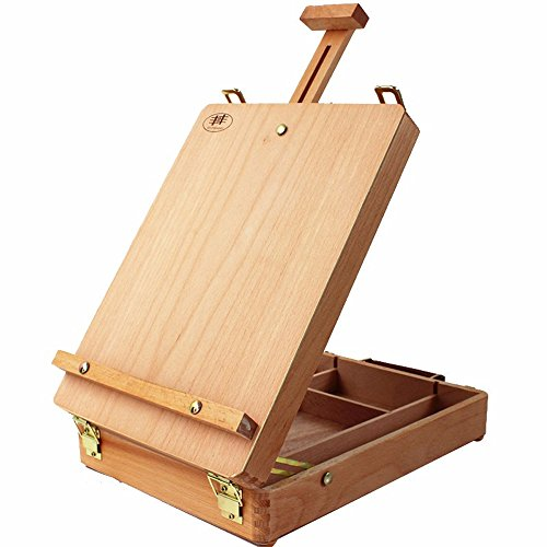 Art Supplies Box Easel Sketchbox Painting Storage Box, Adjust Wood Tabletop Easel for Drawing & Sketching Student (HBX-3)