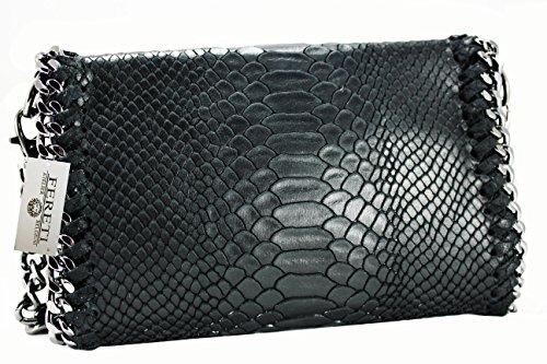 FERETI Damen Leder Clutch Tasche 25 farben umhangetasche Abendtasche Schultertasche mit Kette (schwarz)