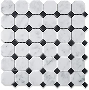 Bianco Carrara White Marble Polished Octagon Mosaic Tile with Black Dots - Lot of 50 sq. ft.