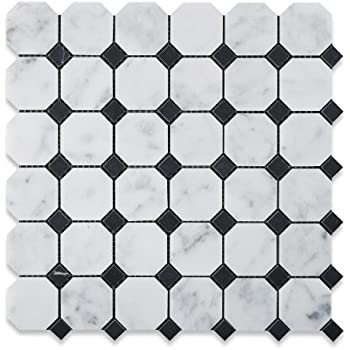 Octagon Floor Tile octagon honed marble mosaic floor backsplash modern wall and floor This Item Bianco Carrara White Marble Honed Octagon Mosaic Tile With Black Dots 6 X 6 Sample