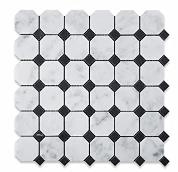 Bianco Carrara White Marble Honed Octagon Mosaic Tile with Black ...