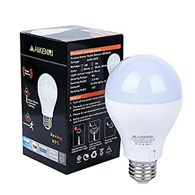 Motion Sensor Light Bulb,7W(60W Equivalent) Radar Smart Bulb Dusk to Dawn LED Motion Sensor Light Bulbs E26/E27Base Indoor Sensor Night Lights White 6500K Outdoor Motion Sensor Bulb Auto On/Off