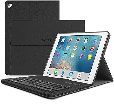 iPad Keyboard Case 9.7,Keyboard Case for iPad 9.7 2017,iPad 9.7 2018,iPad Pro 9.7,iPad Air 2,iPad Air Cover,SENGBIRCH Bluetooth Magnetically Detachable Removable Wireless Keyboard for iPad,Black