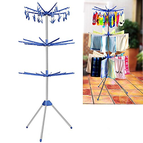 Kaluo Rotation 3 Tiers Portable Folding Laundry Towel Drying Rack Hanger Dryer Tripod with Clips