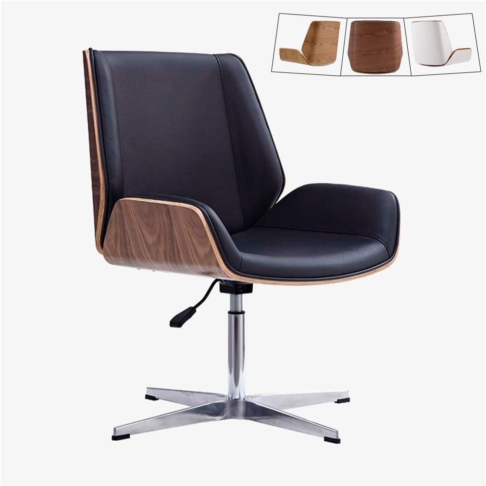 Zhen Guo Mid Century Modern Office Desk Chair With Cipri Leather Upholstery Adjustable Height Armless Swivel Chair Mid Back Executive Chairs Stainless Steel Legs Color Walnut Look Black Amazon Co Uk Kitchen