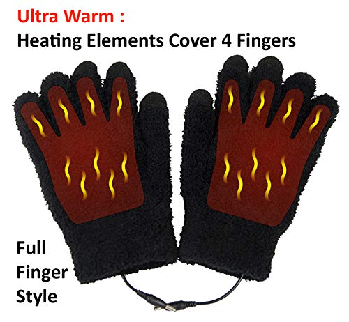 ObboMed® MH-1025 Touchscreen USB 5V Composite Heating Element Warming Full Finger Stretchy Gloves-Connect to USB Port,PC,Laptop, Adapter for Power- can use on Cell Phone, iPad - 9