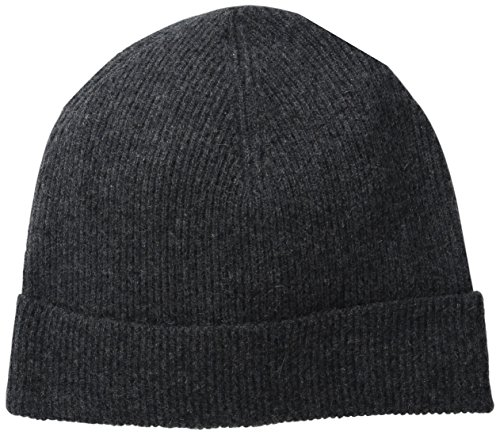 Phenix Cashmere Men's Half Cardigan Rib Knit Cuff Hat, Grey, One Size (Cashmere Hat)