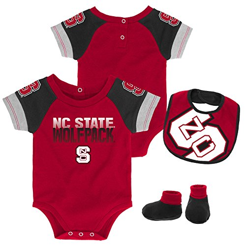 Gen 2 NCAA North Carolina State Wolfpack Newborn & Infant 50 Yard Dash Bib & Bootie Set, 3-6 Months, Dark Red