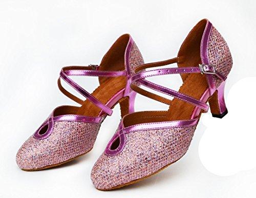Buckle Glitter Latin Modern Comfort TDA Dance Shoes Salsa Pink Ankle Tango Women's Strap Ballroom 1wTITqSX