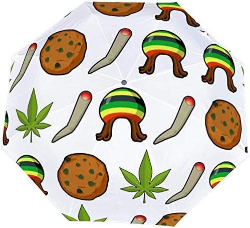 Upside Down Umbrellas with C-Shaped Handle for Women and Men Reverse Inverted Windproof Reggae Rasta Pattern Green Marijuana Leaf Umbrella Double Layer Inside Out Folding Umbrella