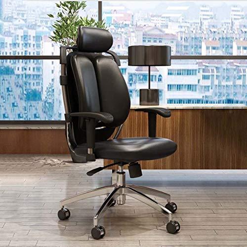 BAOFU Högrygg verkställande kontorsstol, PU konstläder stor säte dator skrivbordsstol, ergonomisk design justerbar sitthöjd, synkrolutningsmekanism, 360 graders vridbar