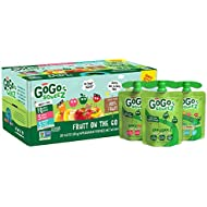 GoGo squeeZ Applesauce, Variety Pack (Apple/Peach/GIMME 5), 3.2 Ounce (20 Pouches), Gluten Free, Vegan Friendly, Unsweetened, Recloseable, BPA Free Pouches