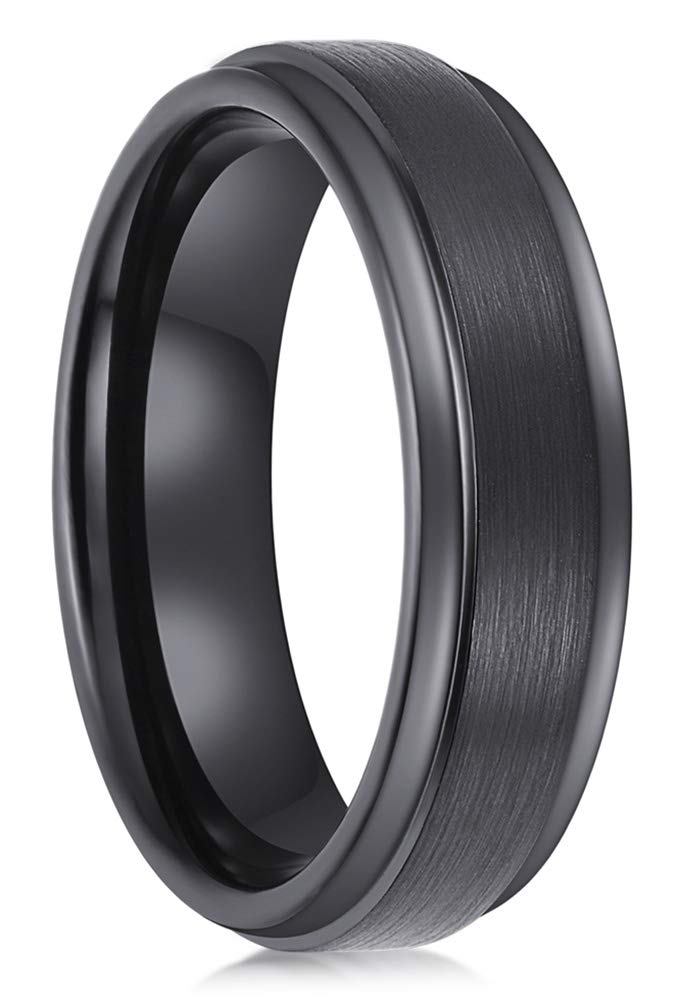 Lanchela & Co. Black Tungsten Carbide Rings 6mm Men Women Wedding Bands Tungsten Engagement Promise Brushed Comfort Fit