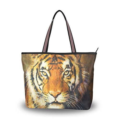 Tigers Zipper Top Handbag (My Daily Women Tote Shoulder Bag Tiger Painting Handbag Medium)