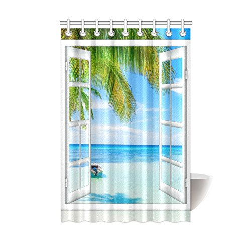 InterestPrint Ocean Shower Curtain 48 X 72 Inches Long, Tropical Palm Trees on Island Beach Through White Wooden Windows Polyester Fabric Curtain Set with Hooks, Blue Green White Multicolored - Beach Themed Window Curtains