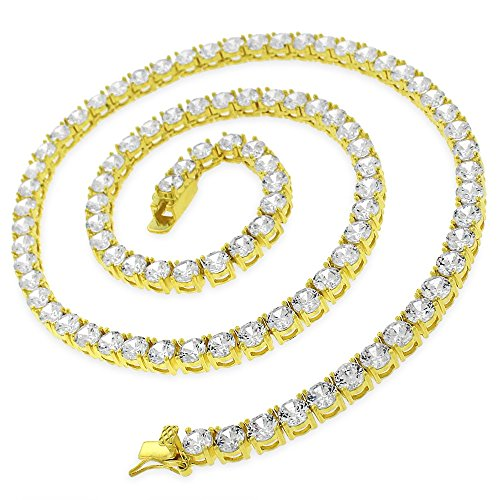 (NYC Sterling Unisex Sterling Silver and Gold Plated 5mm Cubic Zirconia (20: