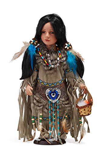[Native American Beauty With Basket Ethnic Bisque Porcelain Dolls on Stand 16