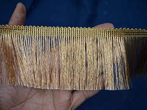9 Yard Metallic Dull Gold Wholesale Fringe Eyelash Sewing Home Decor Trims for Indian Wedding Dress Holiday Crafting Purse Making Ribbon