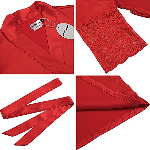 HOTOUCH Vestaglia Tipo1 Donna Elegante Raso Pajamas Con Camice Vestaglia Cintura Corta Rosso Notte Pigiama Kimono da rrPxR6qn