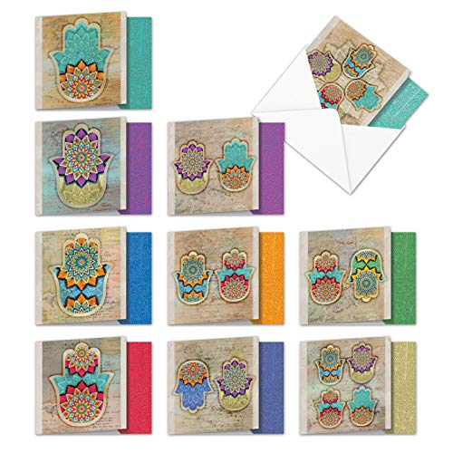 Hamsa Best of Luck - Assorted Boxed of 10 Note Cards 4 x 5.12 inch With Envelopes - Arabian Style Images of the Hand of God - Assortment of All Occasion Hamsa Notecards w/ Greeting MQ5204OCG-B1x10