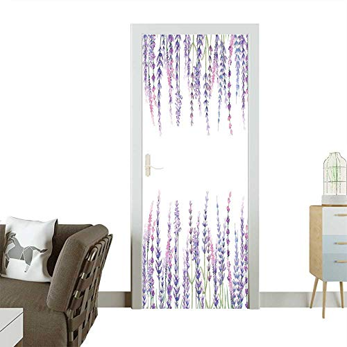 Door Sticker Wall Decals Frame with Lavender Painted with Watercolors on a White Background,Decoration Postcard Easy to Peel and Stick W17.1 x H78.7 INCH