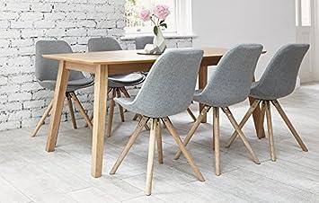 Eames 6 Sitzer Grau Stoff Esstisch Mit Eiche Tisch