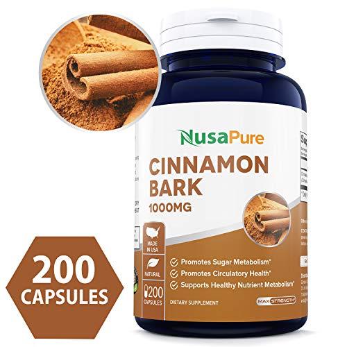 Cinnamon Bark 1000mg 200caps (Non-GMO & Gluten Free) Natural Anti-Bacterial & Anti-Microbial Properties - Made in USA - 100% Money Back - Bark Tree Cinnamon