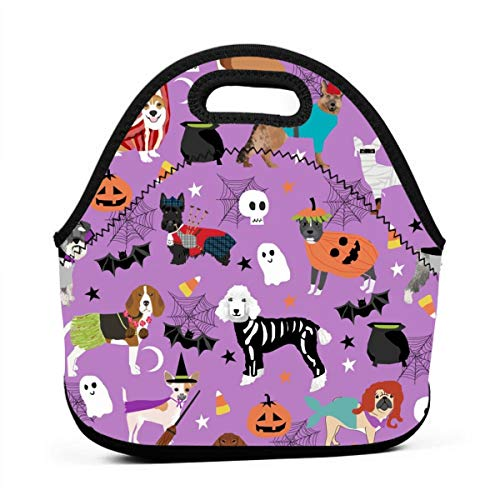 Dogs In Halloween Costumes - Dog Breeds Dressed Up Fabric - Purple_232 Portable Lunch Containers, Work Lunches bag, Picnic, Travel, BBQs, Camping, Beach