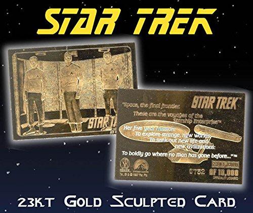STAR TREK Kirk Spock McCoy in Transporter 23KT Gold Card Sculpted #/10,000