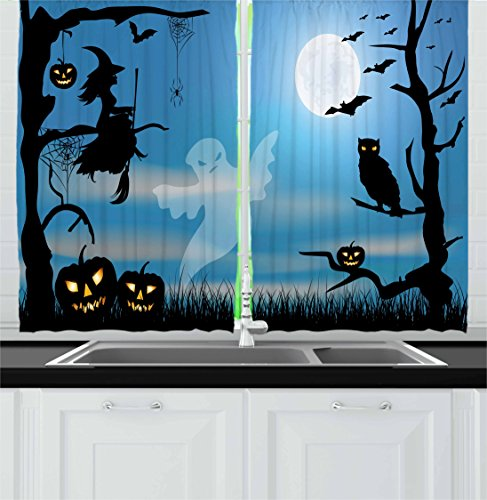 Halloween Kitchen Curtains by Ambesonne, Ghost Witch Owl Spider Web Bats Trees Fantastic Grange Forest at Night, Window Drapes 2 Panel Set for Kitchen Cafe, 55 W X 39 L Inches, Blue Black White