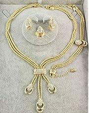 مجموعات مجوهرات مطلية بالذهب ومرصعة بالكريستال - 4 قطع