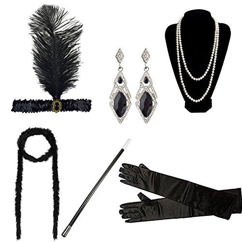 DRESHOW 1920s Flapper Gatsby Costume accessories Set Vintage Headband Earrings Necklace Gloves Cigarette Holder (6 Set/Style E)