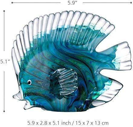 Estatuas Decorativas de vidrio azul peces tropicales decoración del hogar arte 1