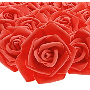 Juvale 100-Pack Artificial Rose Flower Heads for Wedding Decorations, Baby Showers, Crafts – Red, 3 Inches