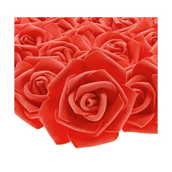 Stemless Rose Flower Heads, Artificial Roses for Weddings, Valentine's, and DIY (3 in, Red, 100 Pack)