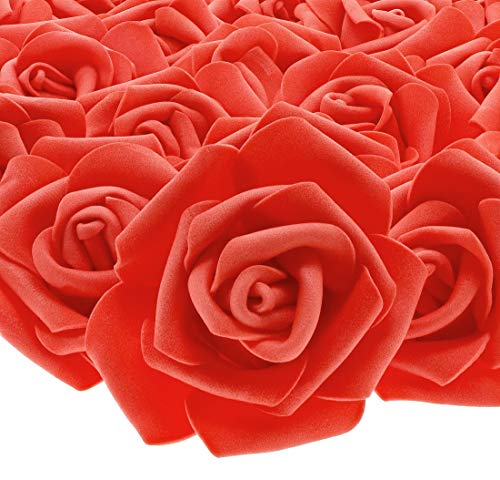 Juvale 100-Pack Artificial Rose Flower Heads for Wedding Decorations, Baby Showers, Crafts - Red, 3 Inches ()