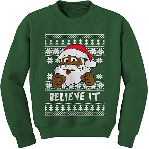 Expression Tees Crew Believe It Black Santa Clause Adult Large Forest Green