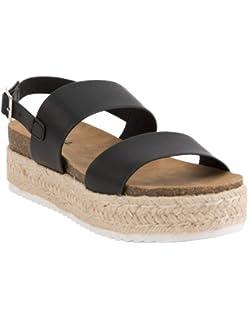 49d0c8ab453 SODA 2 Strap Black Espadrille Flatform Sandals