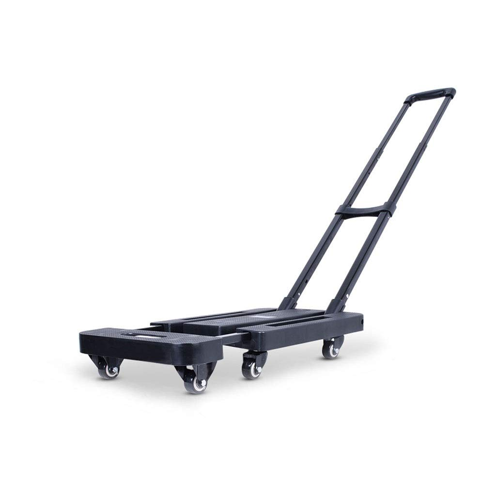 Xilinshop Portable Utility Carts Folding Portable Shopping Cart Pull Goods Small Trailer Home Shopping Cart ( Color : Black , Size : L )