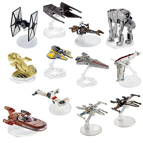 Hot Wheels Star Wars (12 Pack) Spaceship Models Toys Set Figures & Stands Mattel (Assortment F)