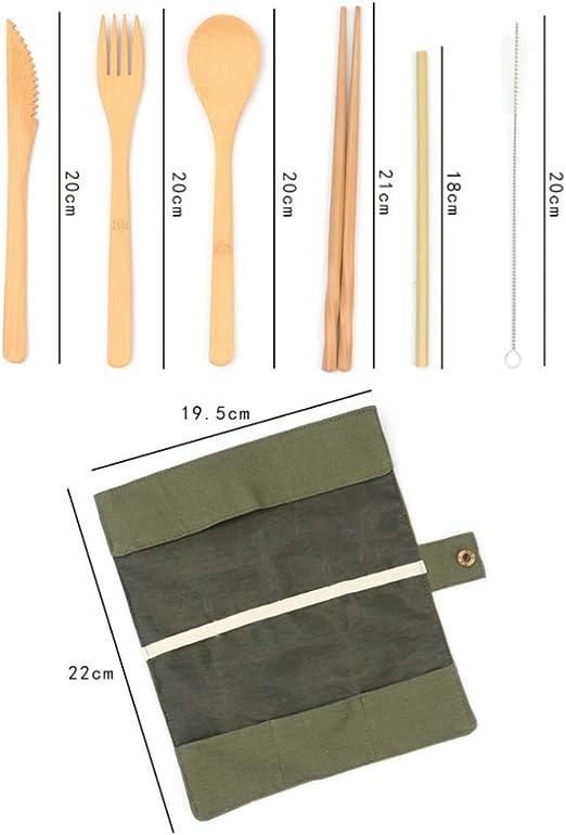 Ruiqas Holzbesteck Color : Black Twining Thread Wiederverwendbare und tragbare Tasche Besteck Reiseutensilien Set f/ür Camping Office Lunch