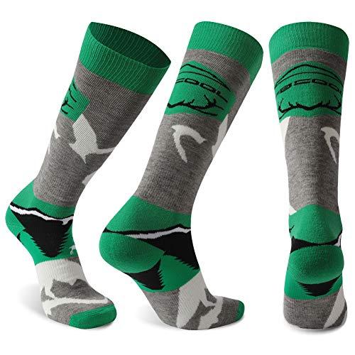 (Youth Ski Socks, Facool Lightweight Warm Merino Wool Snowboard Skiing Socks for Youth Boys Men Cushioning Knee High(Large,Grey/Green))