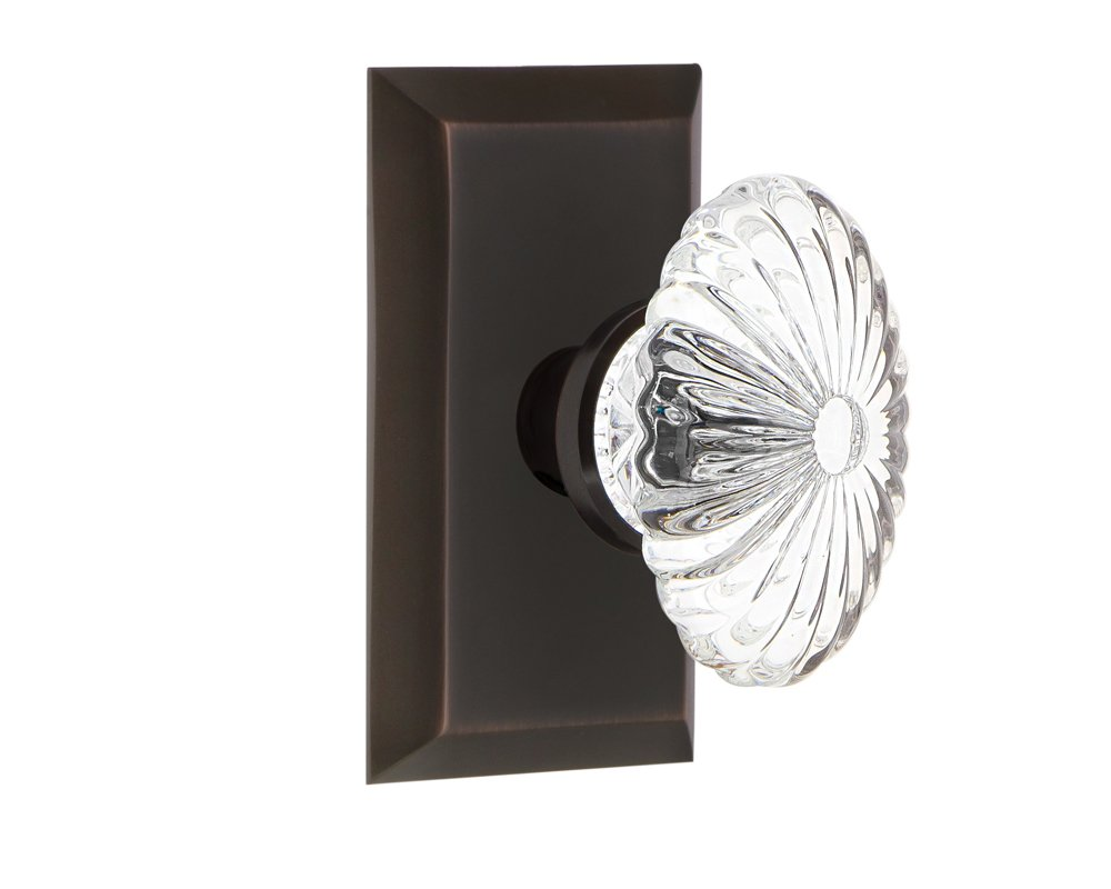 Antique Pewter 2.375 Privacy Nostalgic Warehouse Studio Plate with Oval Fluted Crystal Glass Knob